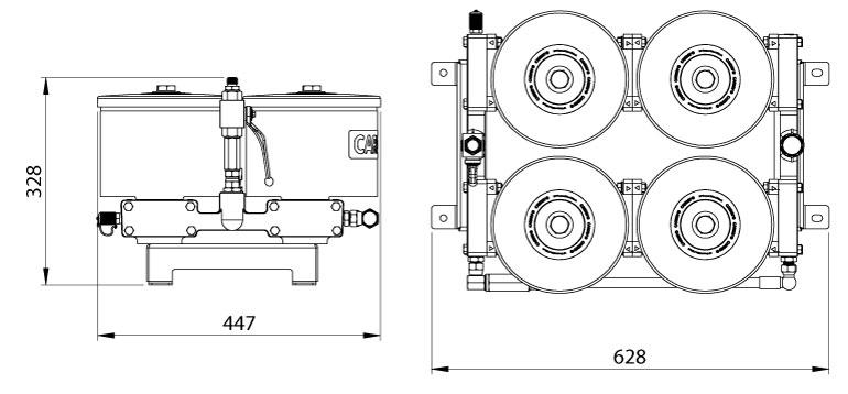 Dimensions du filtre Cardev 4S-350-C8