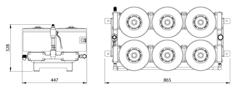 Dimensions du filtre Cardev 6S-350-C12