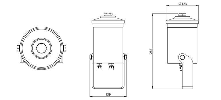 Dimensions du filtre Cardev LDU-H8