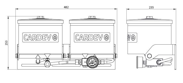 Dimensions du filtre Cardev SDU-H350RK-Twin