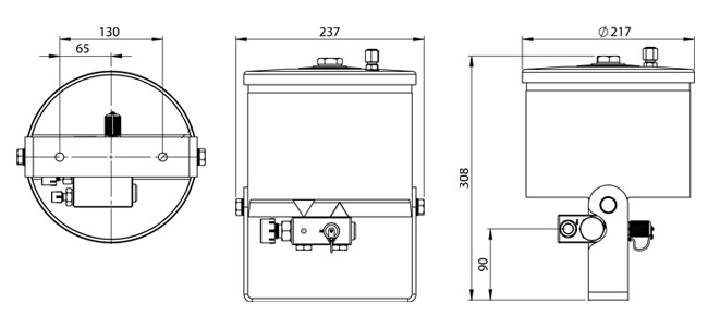 Dimensions du filtre Cardev SDU-H350UW-S