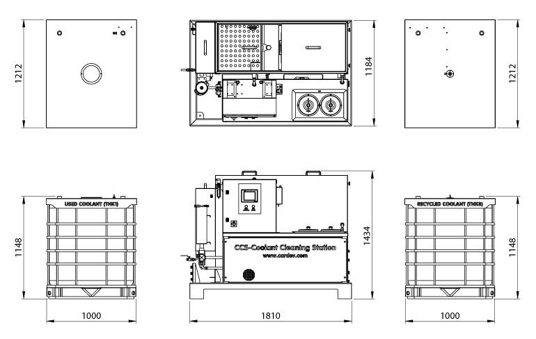 Dimensions de la station de nettoyage des fluides de coupe Cardev CCS