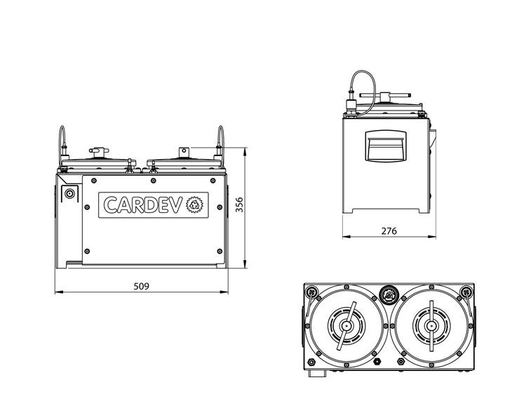 Dimensions du système de filtration Cardev 2S-24-500