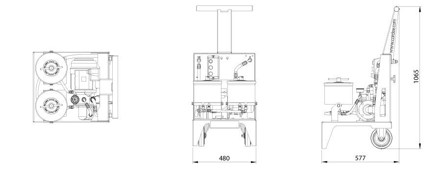 Dimensions du système de filtration Cardev 2S-500B