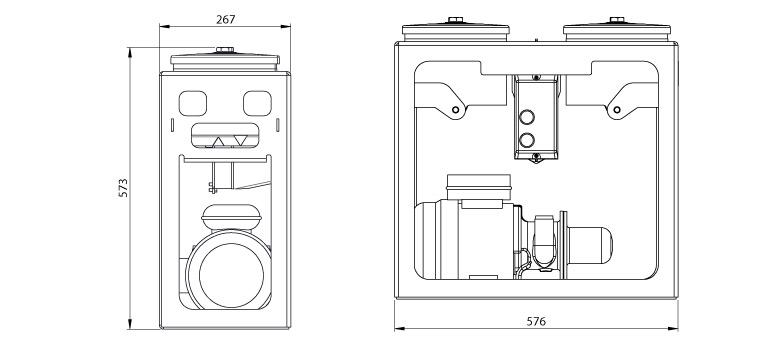 Dimensions du système de filtration Cardev 2S-500BS