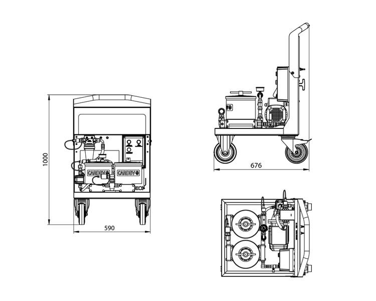 Dimensions du système de filtration Cardev 2S-500E