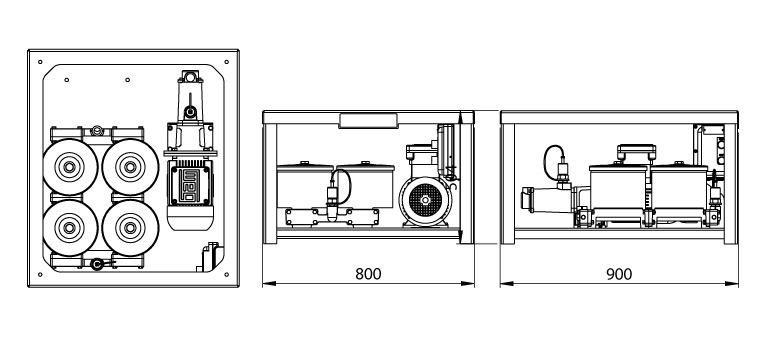 Dimensions du système de filtration Cardev 4S-500EX