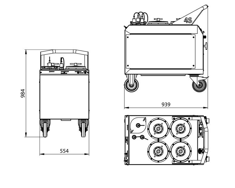 Dimensions du système de filtration Cardev 4S-B