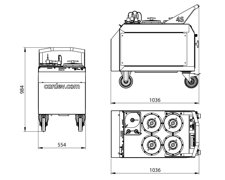 Dimensions du système de filtration Cardev 4S-E