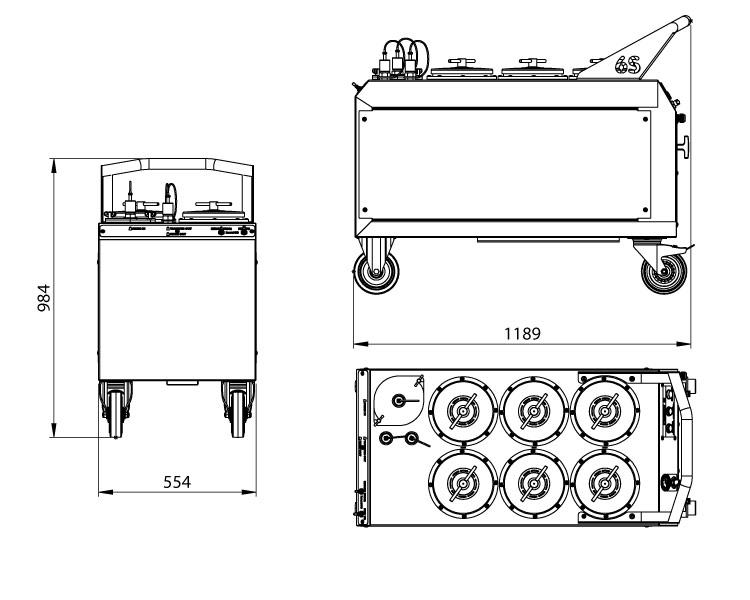 Dimensions du système de filtration Cardev 6S-B