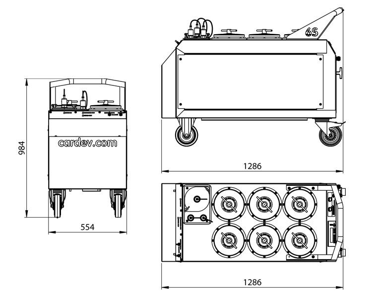 Dimensions du système de filtration Cardev 6S-E