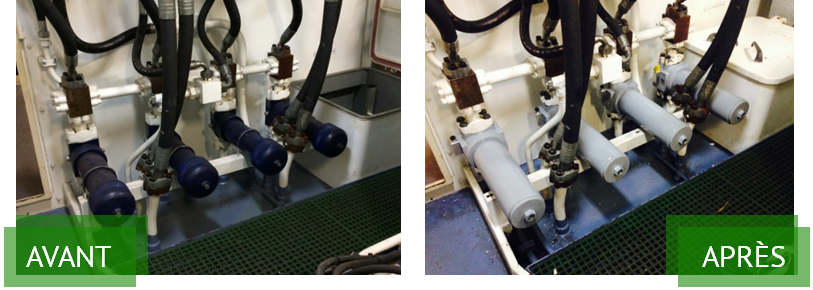 Comparaison avant et après remplacement filtres PALL